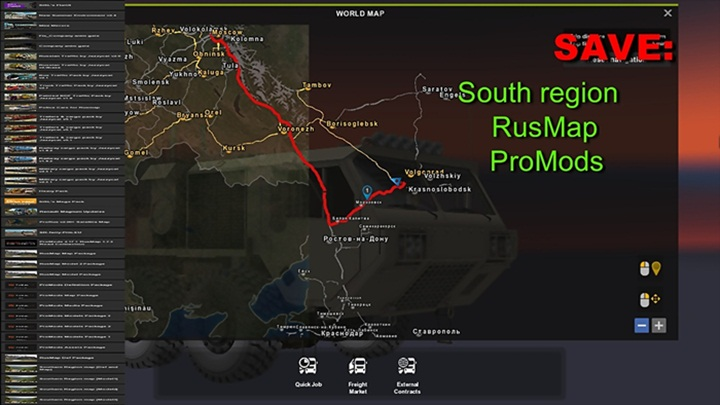 ETS 2 – Save: South Region + RusMap + ProMods (1 28 X) | Truck