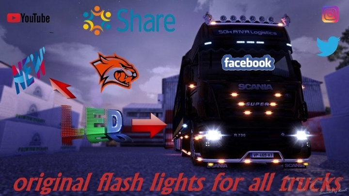 Photo of ETS 2 – Advanced Flash Lights for All Trucks (1.30.X)