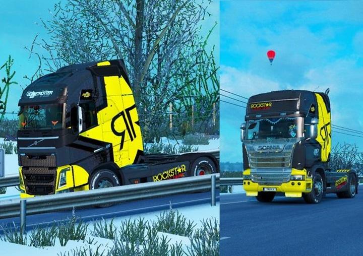Photo of ETS 2 – Skin Rockstar Energy for Scania + Volvo V1.0 (1.30.X)