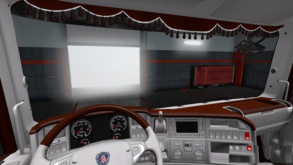 Photo of ETS2 – Scania Rjl Brown White Interior Td V1.0 (1.30.x)