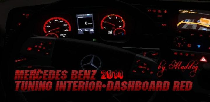 Photo of ETS2 – Mercedes Benz 2014 Tuning Interior Dashboard Red 1.31