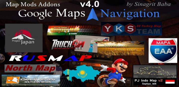 ETS2 - Google Maps Navigation Normal & Night Map Mods Addons