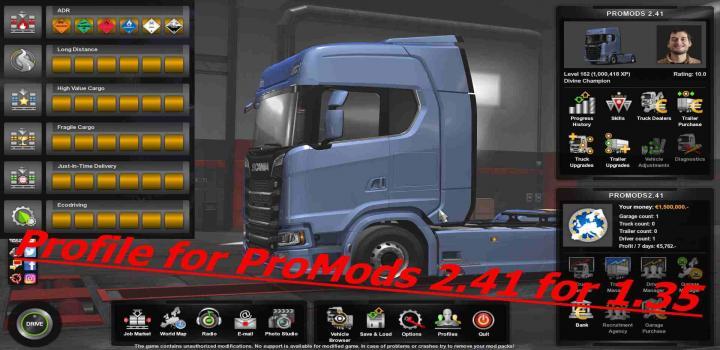 ETS2 - Profile For Promods V2 41 (1 35 x) | Truck Simulator Mods