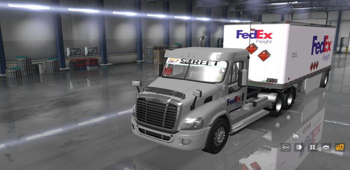 Photo of ATS – Fedex Official 28 Pup Trailer With Freightliner Day Cab Truck (1.35.x)