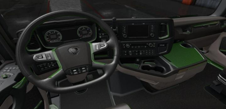 Photo of ETS2 – Scania 2016 S & R Black – Green Interior (1.36.x)