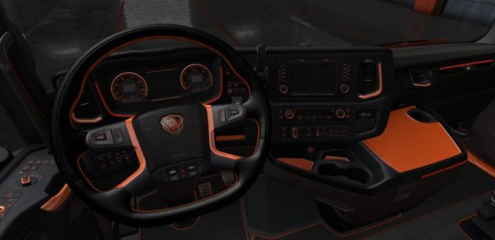 Photo of ETS2 – Scania S & R Black – Orange Interior (1.36.x)