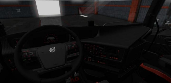 Photo of ETS2 – Volvo Fh 2012 Black – Red Interior With Red Button Lights (1.36.x)