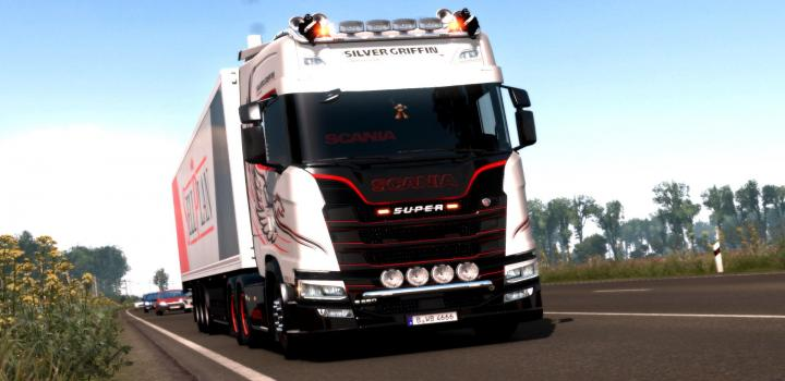 Photo of ETS2 – Red & Dark Interior For Scania S/R V1.0 (1.37.x)