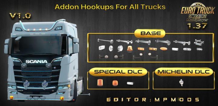 Photo of ETS2 – Addon Hookups for All Trucks V1 for Multiplayer (1.37.x)