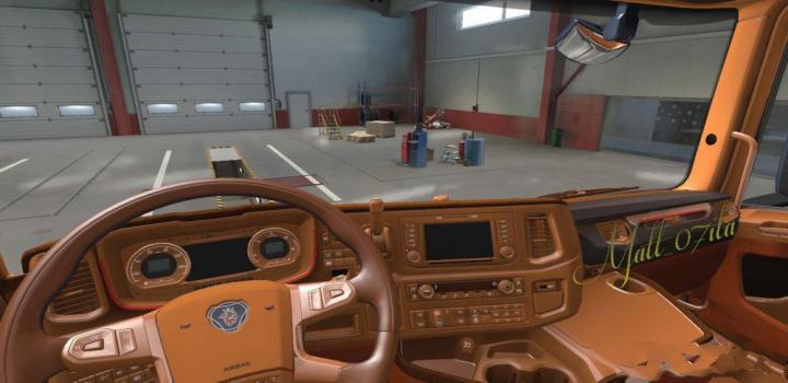 Photo of ETS2 – Brown & Alcantara Interior for Scania Ng (1.38.x)