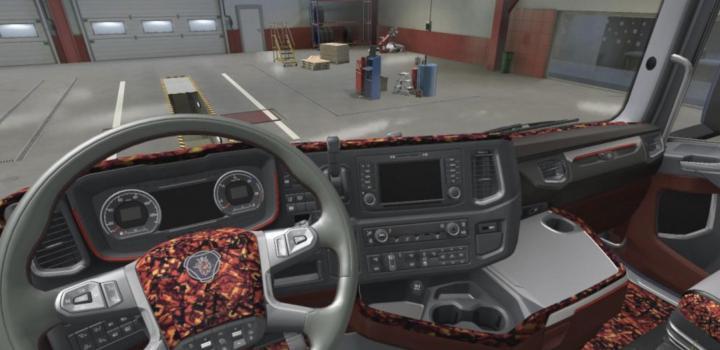 Photo of ETS2 – Scania Nextgen Beige & Red Pluche Interior V1 (1.38.x)