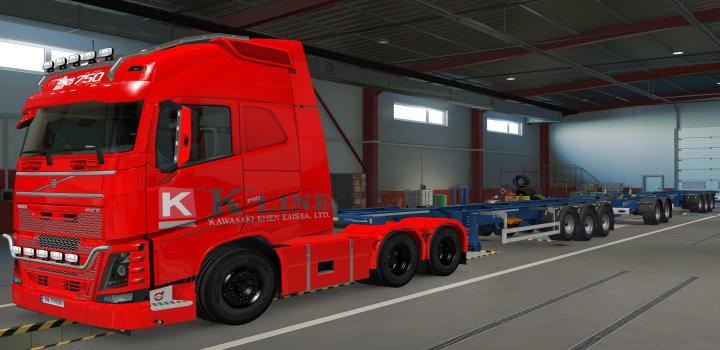 Photo of ETS2 – Volvo Fh16 2012 K-Line Red Skin (1.38.x)