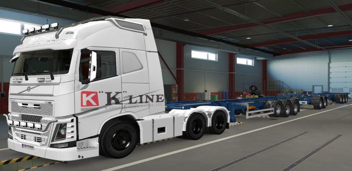 Photo of ETS2 – Volvo Fh16 2012 K-Line White Skin (1.37.x)