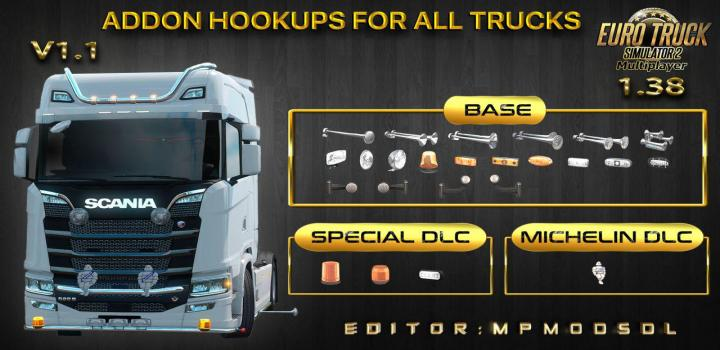 Photo of ETS2 – Addon Hookups for All Trucks V1.1 For Multiplayer (1.38.x)