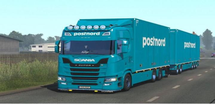 Photo of ETS2 – Scania Ng Postnord Tandem Skin V1 (1.38.x)
