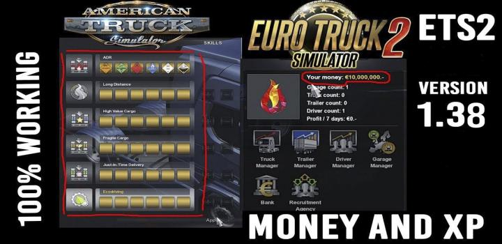 Photo of ETS2 – Xp And Money (1.38.x)