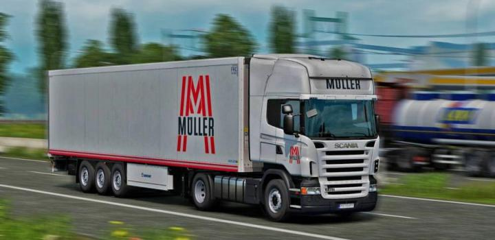 Photo of ETS2 – Muller Transporte Scania And Coolliner V1 (1.38.x)