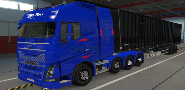 Photo of ETS2 – Volvo Fh16 2012 8X4 Cma Cgm Blue Skin (1.39.x)