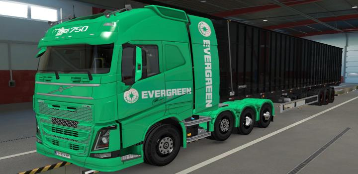 Photo of ETS2 – Volvo Fh16 2012 8X4 Evergreen Green Skin (1.39.x)