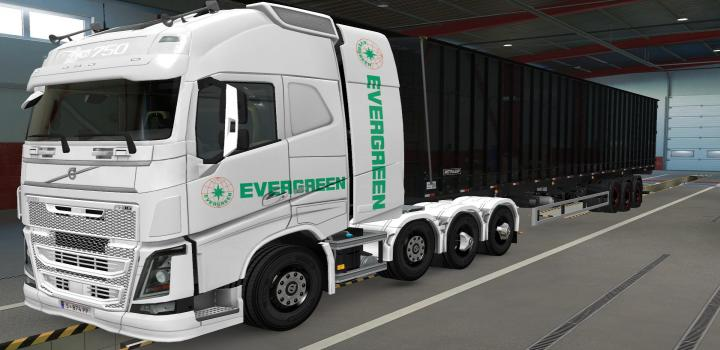Photo of ETS2 – Volvo Fh16 2012 8X4 Evergreen White Skin (1.39.x)