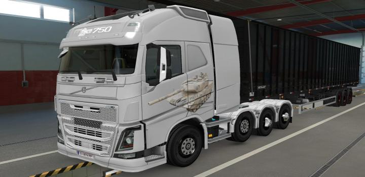 Photo of ETS2 – Volvo Fh16 2012 8X4 Leopard 2 A7+ Battle Tank Skin V1 (1.39.x)