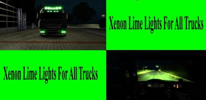 Photo of ETS2 – Lime Green Xenon Lights for All Trucks V1.0 (1.39.x)