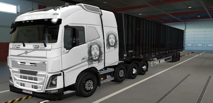 Photo of ETS2 – Volvo Fh16 2012 8X4 Jesus Cristo Skin (1.39.x)
