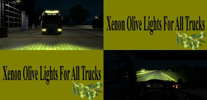 Photo of ETS2 – Xenon Olive Lights for All Trucks V1.0 (1.39.x)
