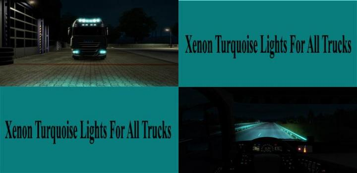 Photo of ETS2 – Xenon Turquoise Lights for All Trucks V1.0 (1.39.x)