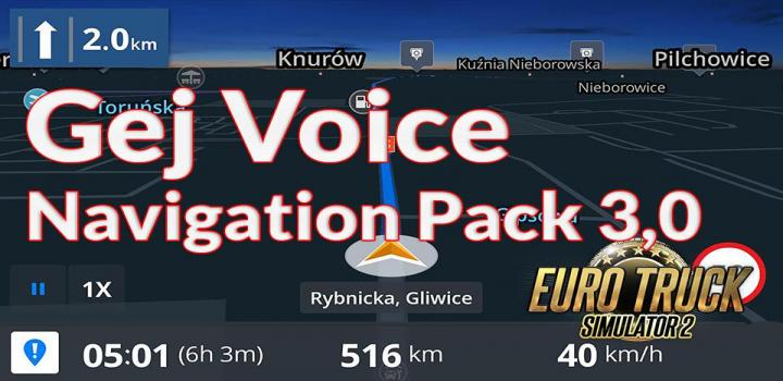 Photo of ETS2 – Gej Voice Navigation Pack V3.0 (1.39.x)